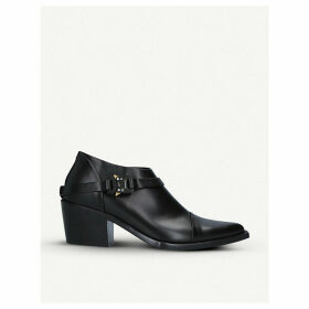 Block-heel leather heeled ankle boots