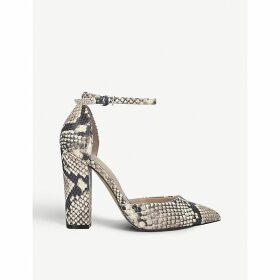 Nicholes snakeskin-print leather heels