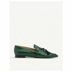 Celina croc-embossed patent-leather flats