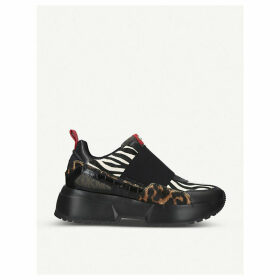 Cosmo animal-print panelled leather trainers