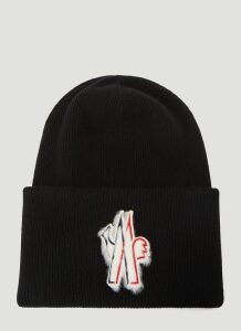 Moncler Grenoble Wool-Knit Beanie Hat in Black size One Size
