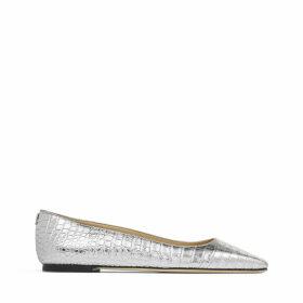 MIRELE FLAT Chaussures plates en cuir argenté à relief crocodile métallisé