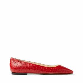 MIRELE FLAT Chaussures plates en cuir rouge royal à relief crocodile