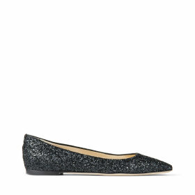 MIRELE FLAT Flache Schuhe aus schwarzem Glitzergewebe mit JC-Emblem