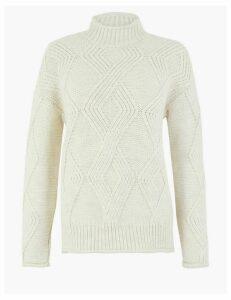 M&S Collection Argyle Cable Knit Turtle Neck Jumper