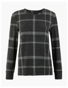 M&S Collection Cosy Checked Straight Fit Sweatshirt