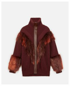 Stella McCartney RED Fur Free Fur Cardigan, Women's, Size 14