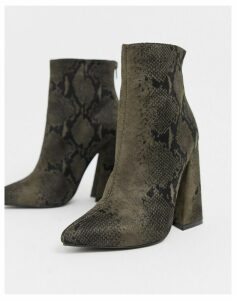 Co Wren pointed block heel ankle boots in snake-Beige