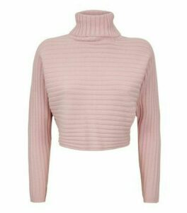 Petite Pale Pink Roll Neck Crop Jumper New Look
