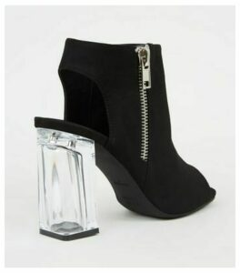 Black High Vamp Clear Block Heel Boots New Look