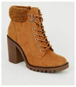 Tan Teddy Trim Block Heel Lace Up Boots New Look Vegan