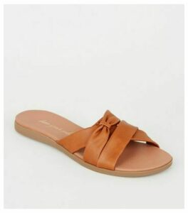 Tan Leather-Look Footbed Sliders New Look Vegan