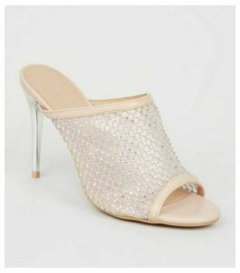 Cream Diamanté Mesh Stiletto Heel Mules New Look