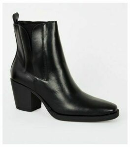 Black Leather-Look Square Toe Western Boots New Look