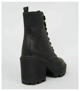 Black Leather-Look Chunky Block Heel Boots New Look Vegan