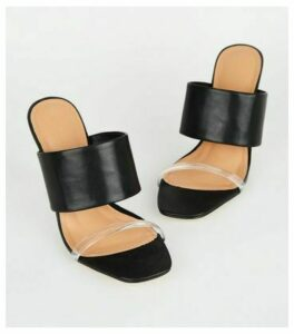 Black Leather-Look Clear Wedge Mules New Look