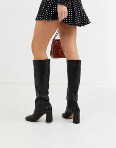 & Other Stories leather round toe knee high boots in black