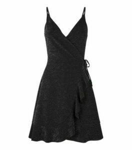 Black Glitter Strappy Frill Wrap Mini Dress New Look