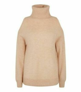 Urban Bliss Camel Cold Shoulder Roll Neck Jumper New Look