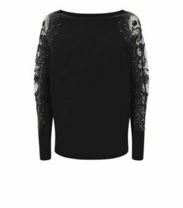 Cameo Rose Black Diamanté Lace Sleeve Jumper New Look