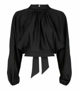 Black Satin Ruffle Tie Back Top New Look