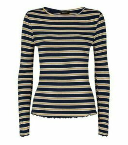 Navy Stripe Ribbed Long Sleeve Top New Look