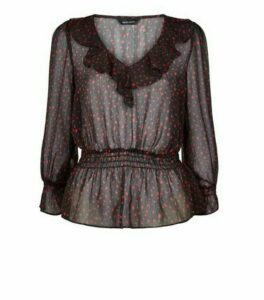 Black Chiffon Spot Frill Trim Peplum Blouse New Look