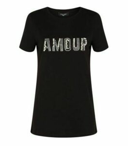 Tall Black Faux Pearl Amour Slogan T-Shirt New Look