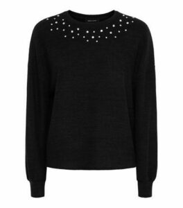 Black Gem Embellished Brushed Fine Knit Jumper New Look