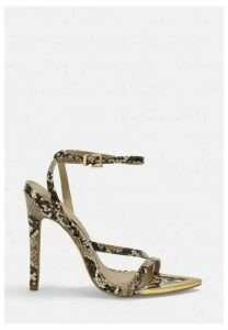 Nude Snake Print Strappy Pointed Toe Heels, Nude