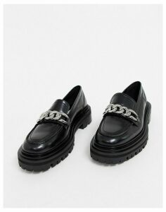 ASOS DESIGN Mystery premium leather chunky flat shoes with chain in black