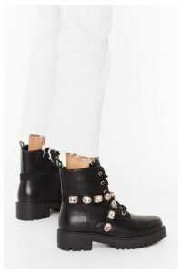 Womens Don't Bling Me Down Faux Leather Embellished Boots - metallics - 8, Metallics