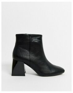 Bershka block heel ankle boots in black