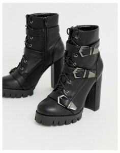 Simmi London Jodie black chunky buckle detail boots