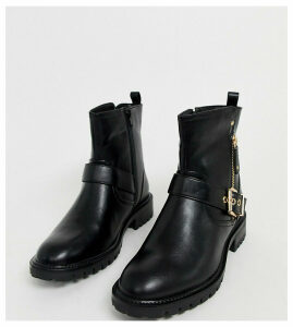 Simply Be extra wide fit biker boot in black with buckle detail