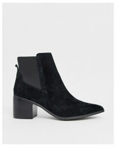 Aldo leather mid heel boots-Black