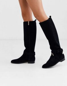Ted Baker Sintiia suede bow detail knee high boots-Black