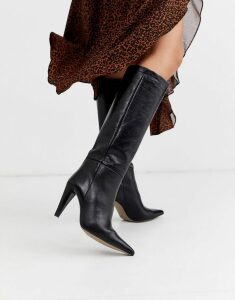 Topshop over the knee boots with cone heel in black