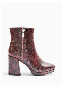 Womens Bombshell Red Mini Platform Ankle Boots, RED