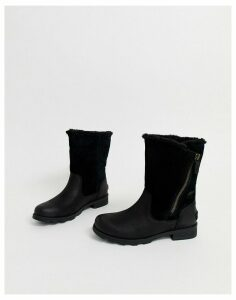 Sorel Emilie black leather foldover waterproof boots
