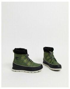 Sorel Carnival waterproof khaki green nylon boots with microfleece lining