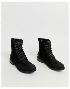 Sorel Emelie short lace black waterproof leather boots