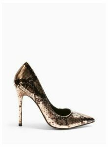 Womens Caterina Bronze Snake Pointed Stiletto Court Shoes, BRONZE