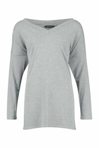 Womens Tall Oversized Long Sleeve Top - grey - 16, Grey