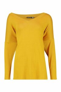 Womens Tall Oversized Long Sleeve Top - yellow - 12, Yellow