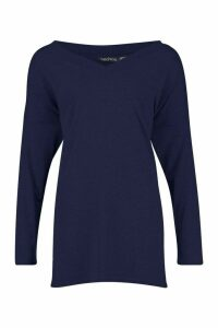 Womens Tall Oversized Long Sleeve Top - navy - 18, Navy