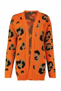 Womens Tall Leopard Cardigan - orange - S/M, Orange