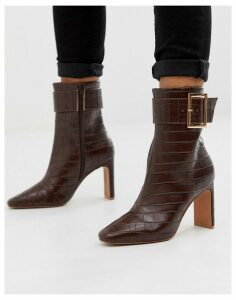 ASOS DESIGN Entourage buckle high ankle boots in brown croc