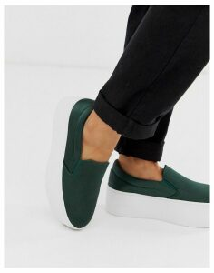 ASOS DESIGN Daring chunky flatform slip on trainers in khaki satin-Green