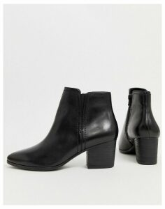 ALDO mid heel almond toe leather ankle boot-Black